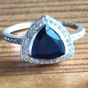 Jewelry - Rough Blue Sapphire and White Topaz Silver  Ring
